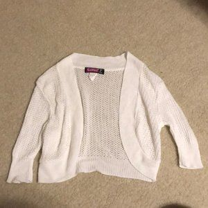 Girl's White Cropped Sweater